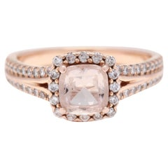14 Karat Rose Gold Morganite and Diamond Halo Ring