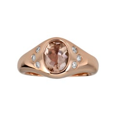 14k Rose Gold Morganite and Diamond Pinky Signet Ring