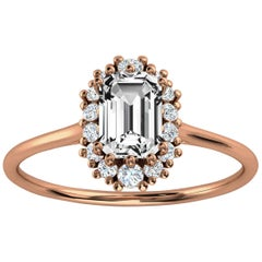 14K Rose Gold Petite Organic Halo Design Emerald Diamond Ring Center 1/2 Carat