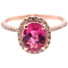 14 Karat Rose Gold Pink Tourmaline and Diamond Ring