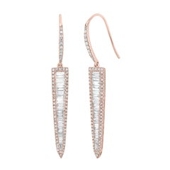 14k Rose Gold Round and Baguette Diamond Triangular Drop Earrings