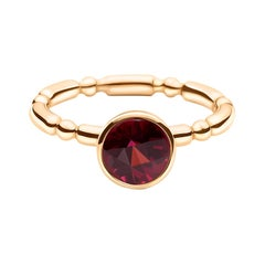 14k Rose Gold Solitaire Engagement Ring with 1.65 Ct Round Red Rhodolite Garnet