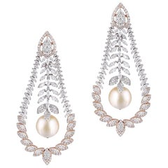 14 Karat Rose Gold South Sea Pearl White Diamond Chandelier Earrings