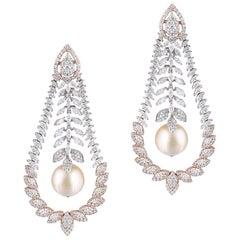 14 Karat Rose Gold South Sea Pearl White Diamond Chandelier Earrings