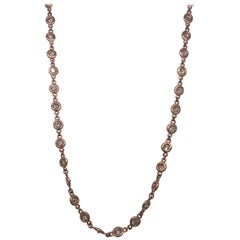 14K Rose Gold Tiffany Bezel Set Necklace