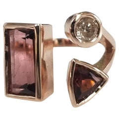 14K Rose Gold Tourmaline and Diamond Split Ring
