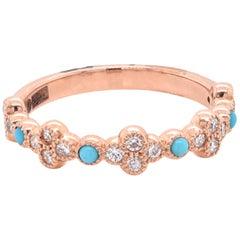 14 Karat Rose Gold Turquoise and Diamond Band Ring