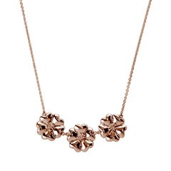 "14k Rose Gold Vermeil 16"" 123 Large Blossom Necklace"