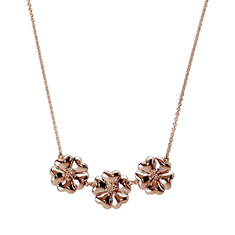 """14k Rose Gold Vermeil 16"""" 123 Small Blossom Necklace"""