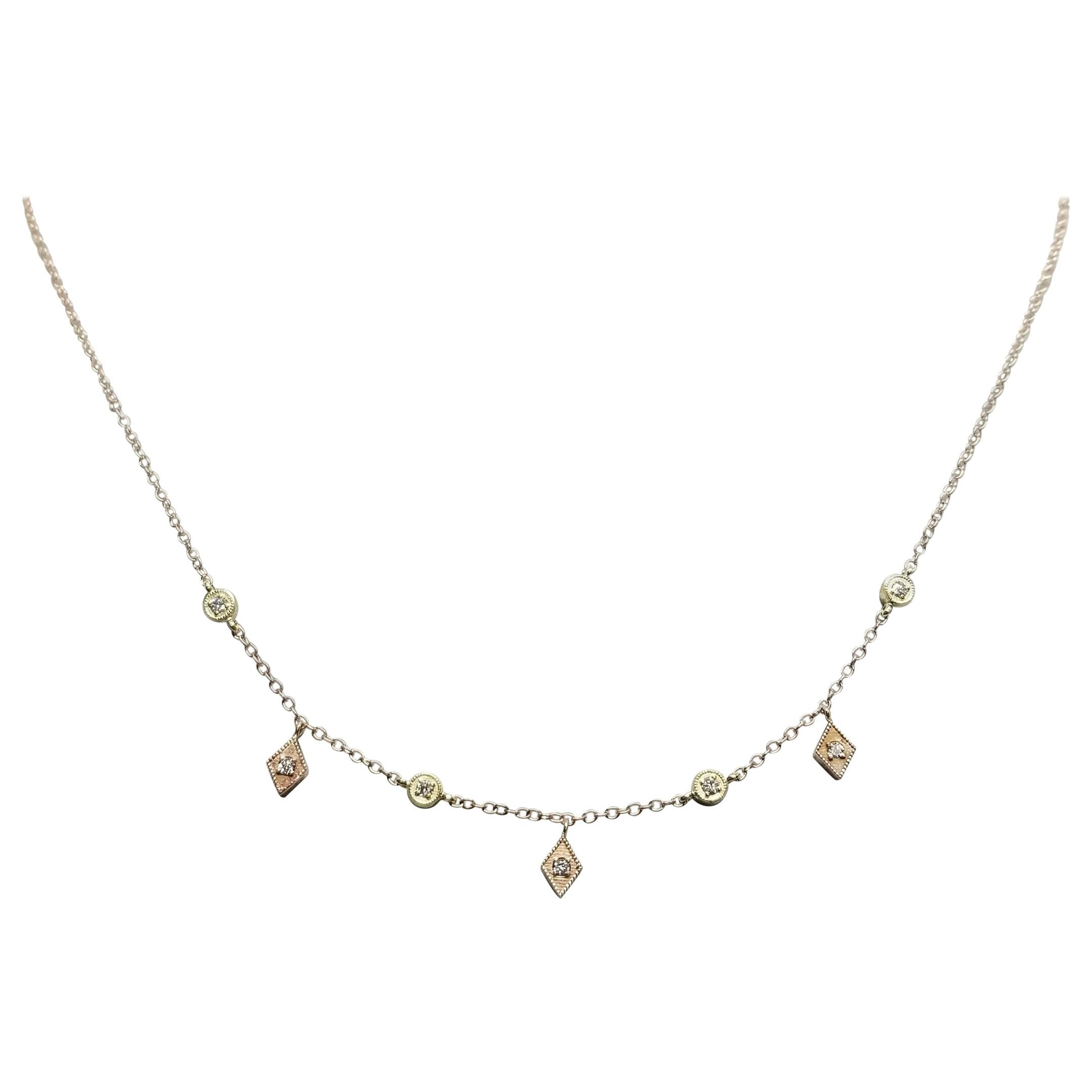 14k Rose N Yellow Gold Diamonds Dangling Necklace with Diamonds on Both Sides