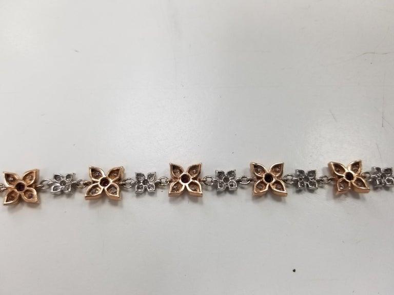 Art Deco 14 Karat Rose-White Gold Ruby and Diamond Floral Bracelet For Sale