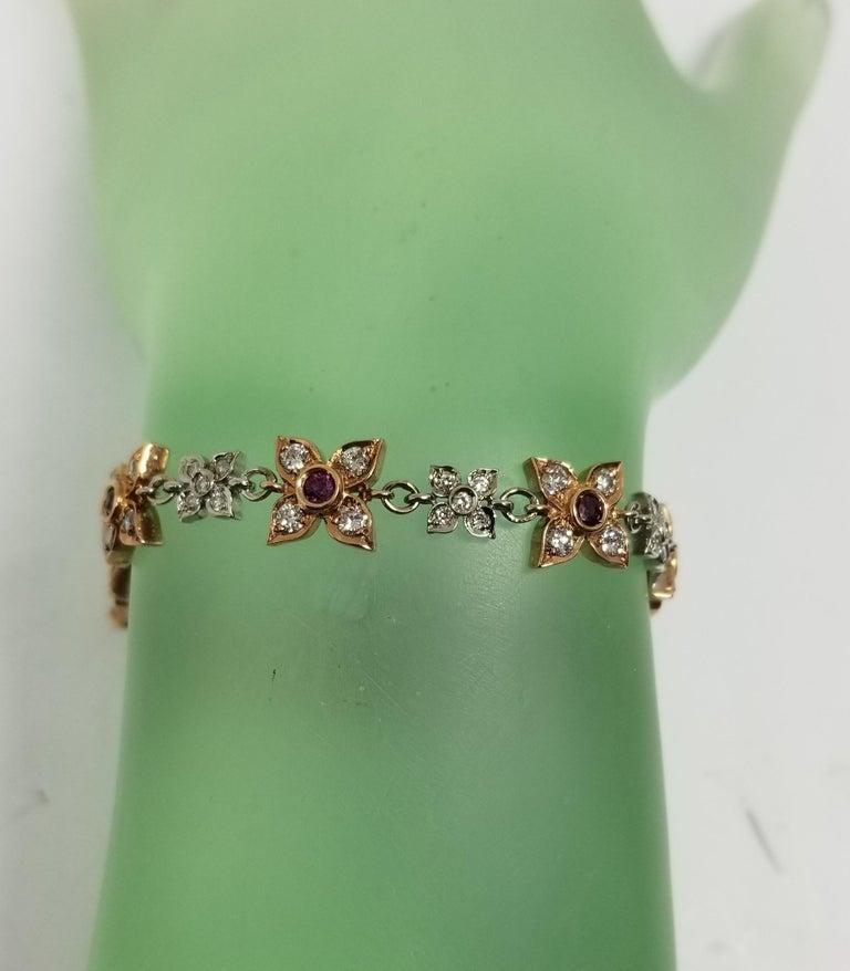 14 Karat Rose-White Gold Ruby and Diamond Floral Bracelet For Sale 1