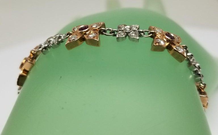 14 Karat Rose-White Gold Ruby and Diamond Floral Bracelet For Sale 2