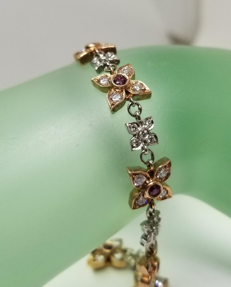 14 Karat Rose-White Gold Ruby and Diamond Floral Bracelet For Sale 3