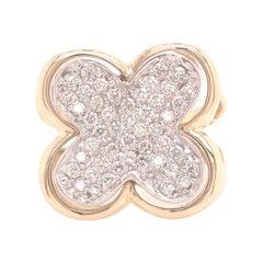 14k Sonia Bitton Diamond Clover Ring Two-Tone Gold