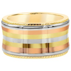 14 Karat Tricolor Gold Concave Band Ring