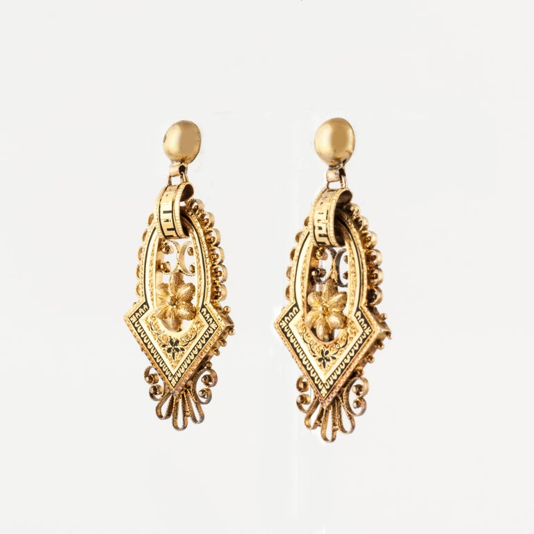 Women's or Men's 14 Karat Victorian Earrings For Sale