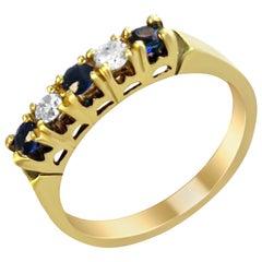 14 Karat Vintage Diamond and Sapphire Ring
