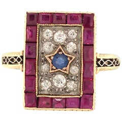 14K Vintage Red, White and Blue, Ruby, Diamond and Sapphire Ring in Yellow Gold