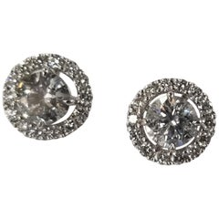 14k Gold Diamond Stud Earrings with Diamond Halo-Jackets Total Weight 2.71 Carat