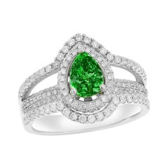 14K WG Ring with 1.05ct Diamond and 0.96ct Emerald