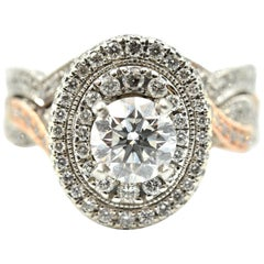 "14k White and Rose Gold, 0.80ct Round Brilliant Diamond ""Neil Lane"" Wedding Set"