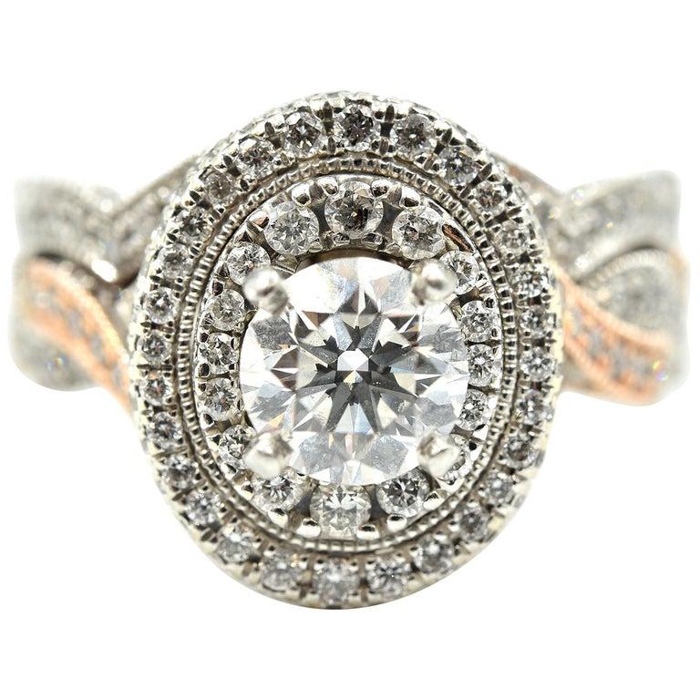 "22f151142 14k White and Rose Gold, 0.80ct Round Brilliant Diamond ""Neil Lane"" Wedding"