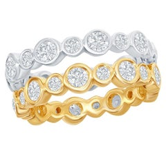14 Karat White and Yellow Gold Diamond Bezel Eternity Rings