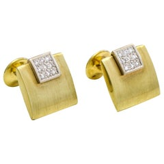 14 Karat White and Yellow Gold Diamond Square Cufflinks
