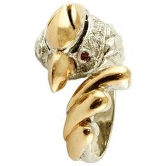 14 Karat White and Yellow Gold Retro Eagle Ring