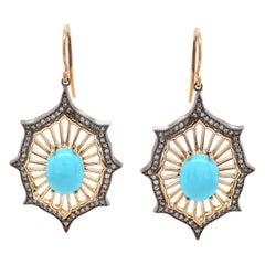 14 Karat White and Yellow Gold Sleeping Beauty Turquoise and Diamond Earrings