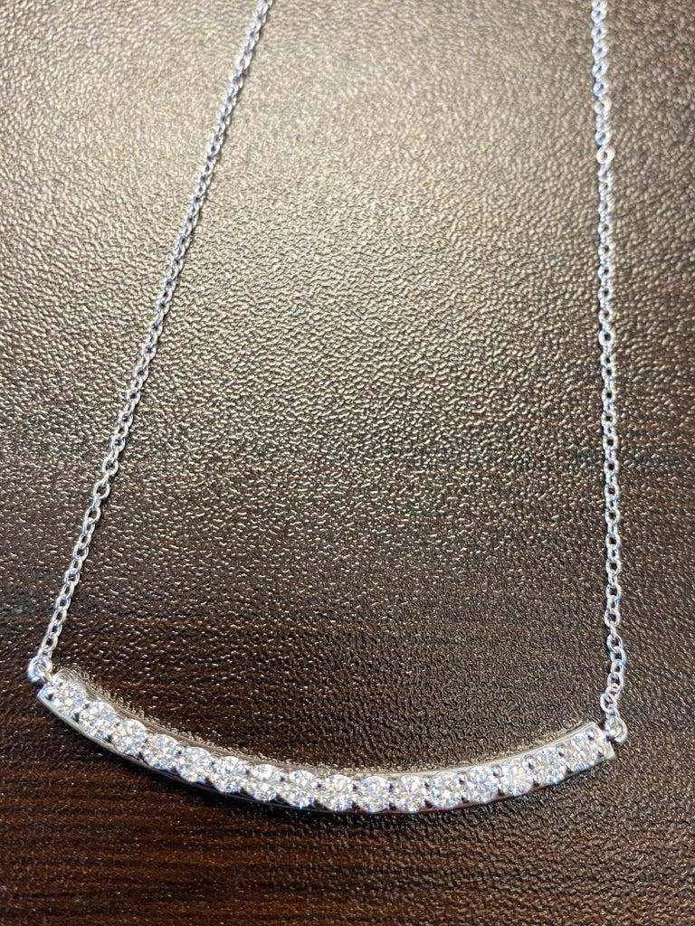 Women's or Men's 14 Karat White Bar Diamond Pendant 7 Pointers For Sale