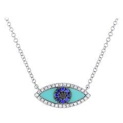 14k White Gold 0.08 Carat Diamond Sapphire & Turquoise Evil Eye Necklace