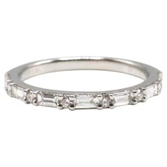 14K White Gold 0.45 Carat Round & Baguette Diamond Wedding Band Stackable Ring