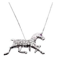 14K White Gold 0.50 Carat Diamond Horse Pendants on 14 Karat White Gold Chain