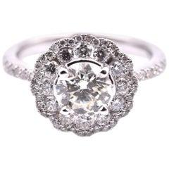 14 Karat White Gold 0.92 Carat Diamond Engagement Ring