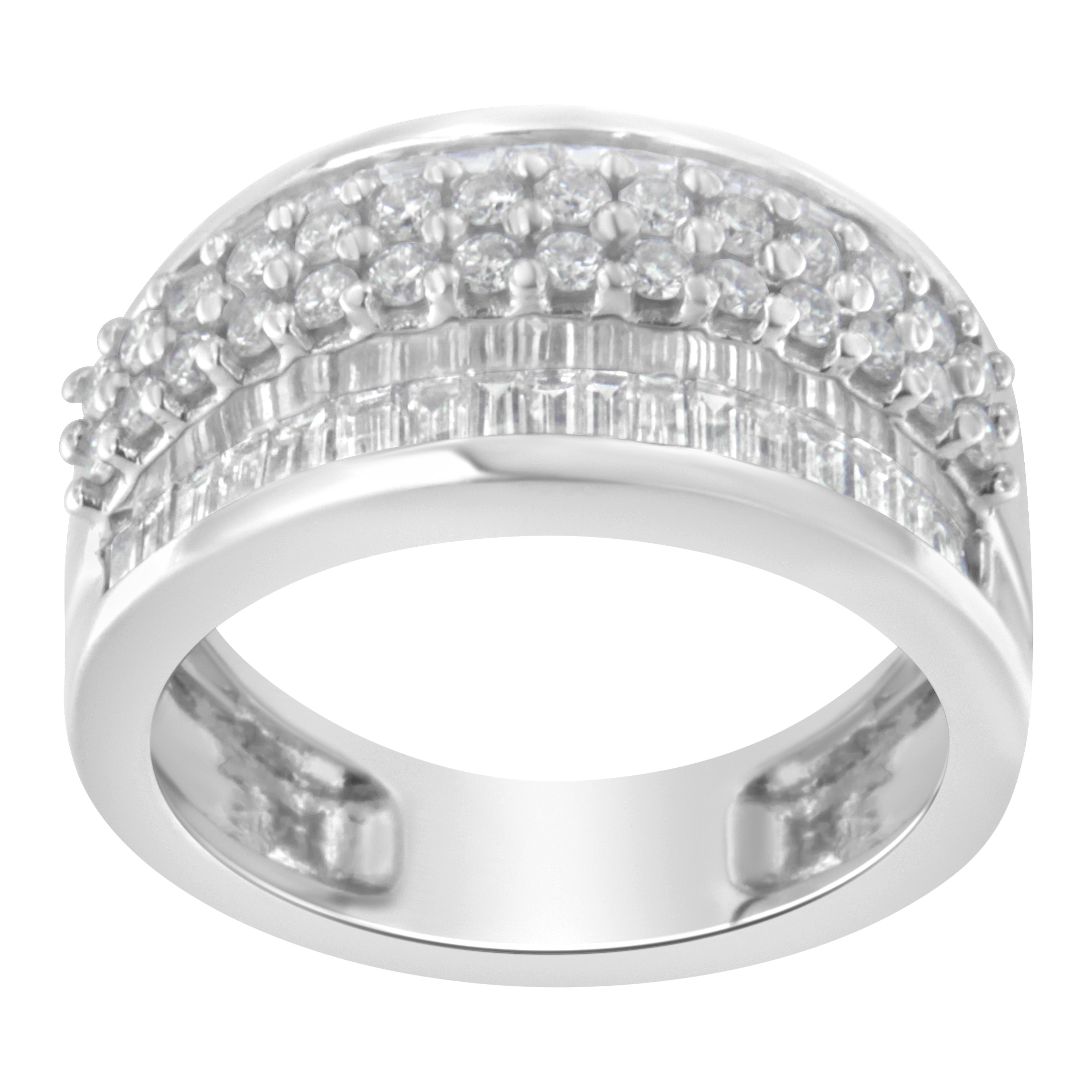 14K White Gold 1 ½ Carat Round and Baguette Diamond Multi-Row Wide Band Ring
