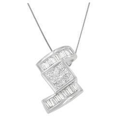 14k White Gold 1 2/5 Cttw Diamond Zig Zag Pendant Necklace