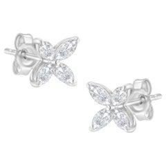 14K White Gold Marquise Diamond Flower Shaped Stud Earrings