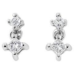 14K White Gold 1/4 Carat Princess-Cut Double Diamond Stud Earrings