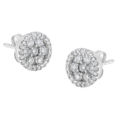 14K White Gold 1.0 Cttw Brilliant-Cut Diamond Halo-Style Cluster Stud Earrings