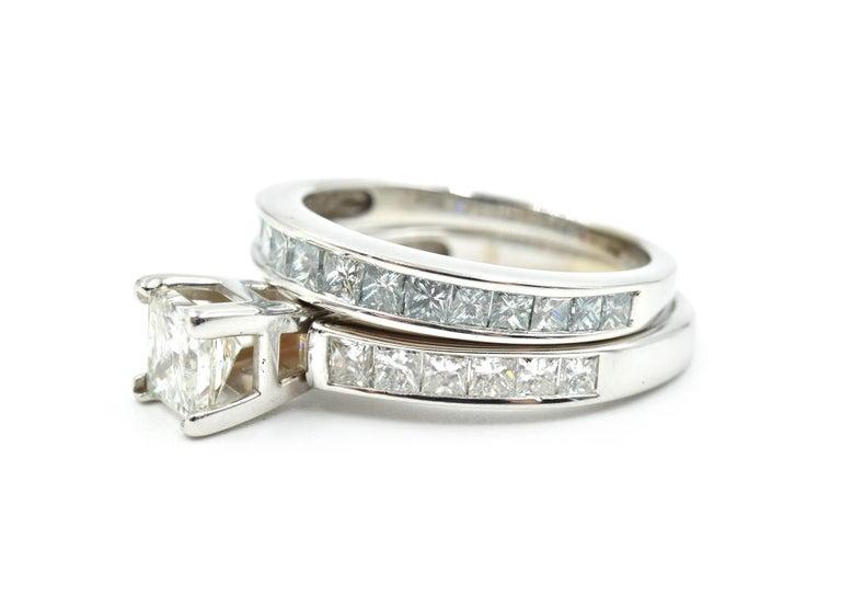 14 Karat White Gold 1.00 Carat Princess Cut Diamond Engagement Ring In Excellent Condition For Sale In Scottsdale, AZ