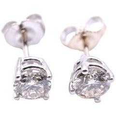 14 Karat White Gold 1.00 Carat Diamond Stud Earrings