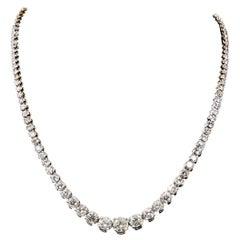 14K White Gold 11.02 CTW Diamond Graduated Riviére Necklace
