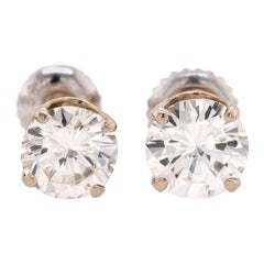 14 Karat White Gold 1.80 Carat Diamond Stud Earrings