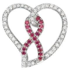 14k White Gold 1ct TDW Diamond Pink Sapphire Heart Pendant Necklace 'H-I, I1-I2'