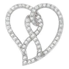 14k White Gold 1ct TDW Round-Cut Diamond Heart Pendant Necklace 'H-I, I1-I2'