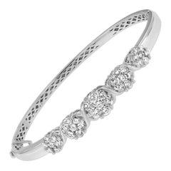 14K White Gold 2 1/2 ct. TDW Diamond Floral Bangle Bracelet 'H-I,SI1-SI2'