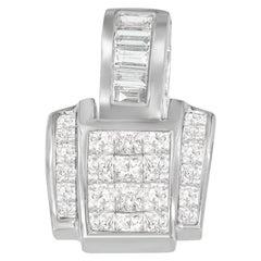14k White Gold 2 1/5 Cttw Princess and Baguette Cut Diamond Pendant Necklace