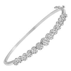 14K White Gold 2 5/8 Cttw Diamond Floral-Inspired Bangle Bracelet 'H-I,SI1-SI2'